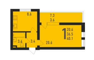 Планировка однокомнатной квартиры в Ивантеевка 2020